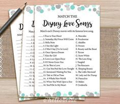 Disney Love Songs Bridal Shower Game - Printable Mint Turquoise Bridal Shower…