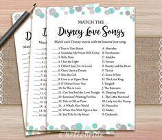 Disney Love Songs Bridal Shower Game - Printable Mint Turquoise Bridal Shower…