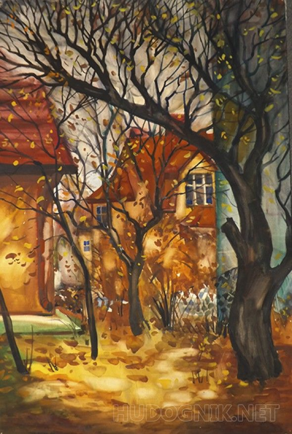 Осенний мотив Акварельный пейзаж советских времен.  В раме с паспарту размером 100х70 см