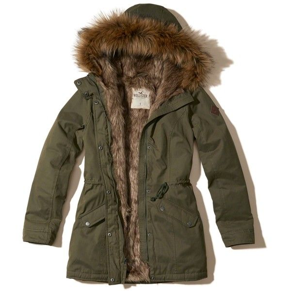 Hollister Faux Fur Lined Parka (£64) ❤ liked on Polyvore featuring outerwear, coats, jackets, olive, faux fur trim hooded parka, parka coat, brown coat, olive green coat and faux fur trim coats