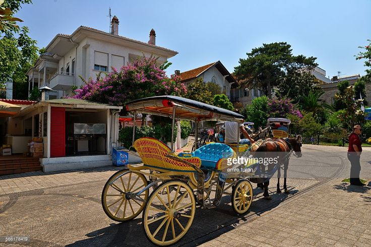Free horse coach at the center of Grand Island. This is the largest island among Princess Islands near Istanbul at Marmara sea. Transportation by using internal combustion engined vehicles is forbidden in these islands.