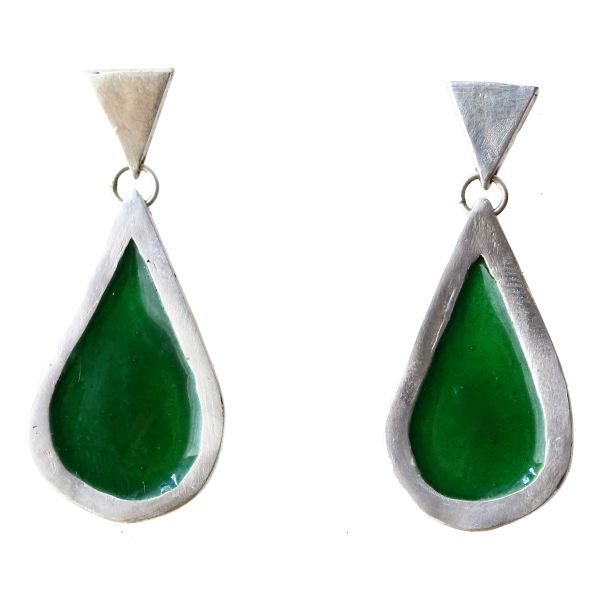 green enamel teardrop white