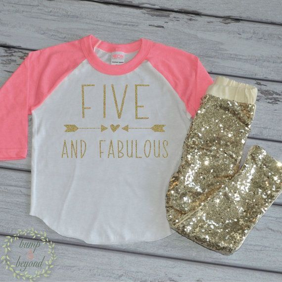 Five and Fabulous 5th Birthday Shirt for Girls, Raglan Shirt and Gold Sequin Pants by Bump and Beyond Designs on Etsy