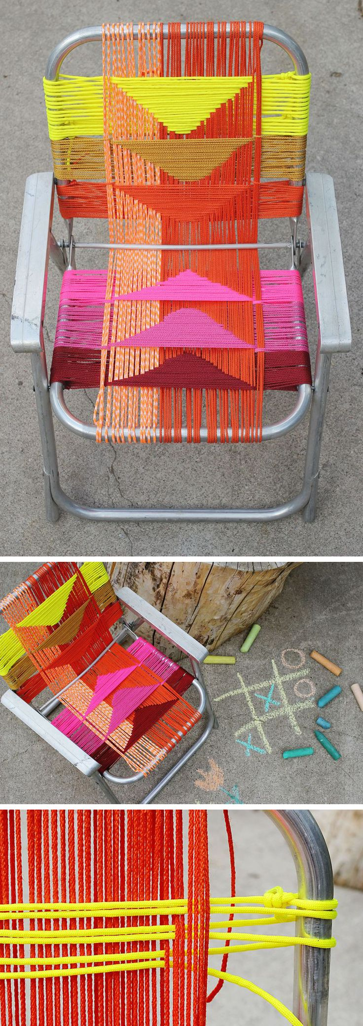DIY woven lawn chair (the most poorly done version I've seen yet, but I like the colors)