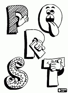 * P, Q, R en S met grappige tekeningen