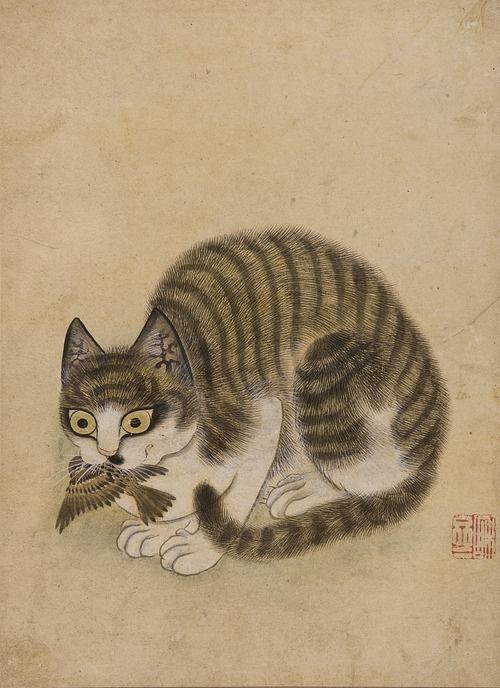 묘작도  화재 변상벽 (Byeon Sang-byeok)  JoseonDynasty,18th century  Byeon is one of the most respected painters of the Joseon Dynasty. He was skilled at depicting animals, especially cats. #KoreanArt