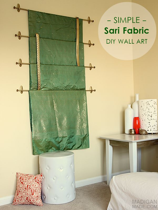 simple diy wall art idea hang sari silks or any other pretty fabric on the wall for the. Black Bedroom Furniture Sets. Home Design Ideas
