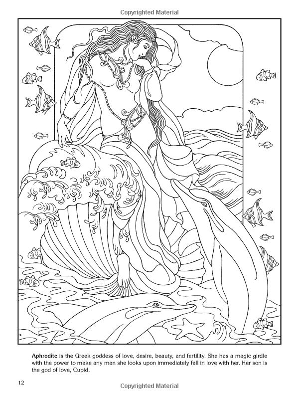 greek mythology coloring pages aphrodite granite | Goddesses Coloring Book (Dover) by Marty Noble ...