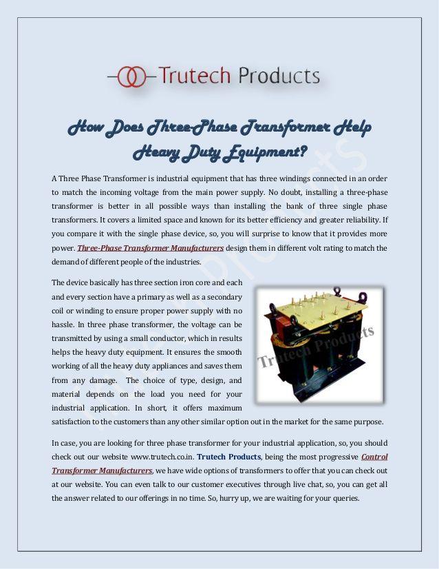 How Does Three-Phase Transformer Help Heavy Duty Equipment?