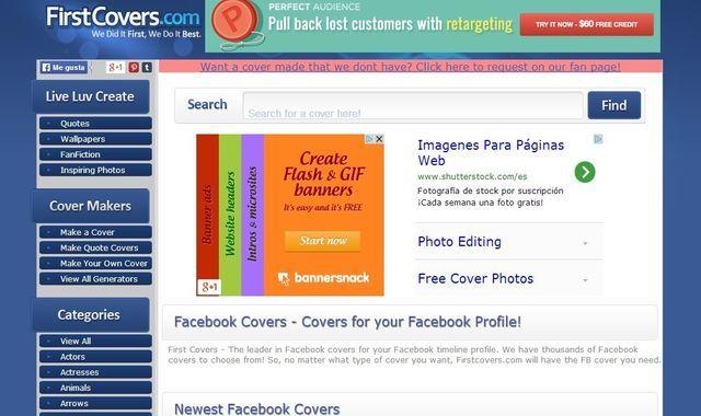 FirstCovers que reúne miles de imágenes gratuitas para utilizar como portada en nuestro perfil de Facebook. Se organizan en distintas categorías temáticas.