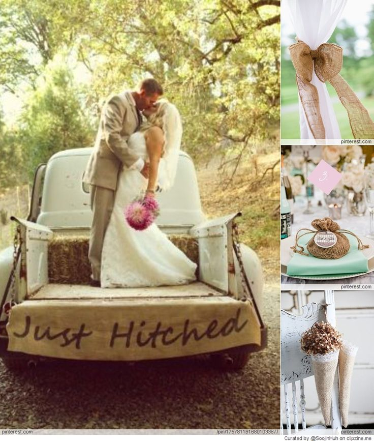 Just Hitched Rustic Wedding Burlap Sign On The Back Of Getaway Truck