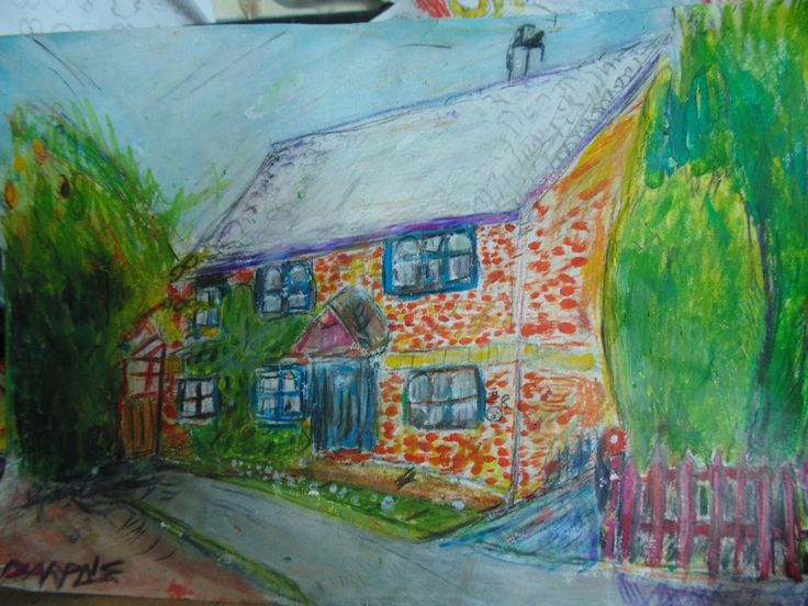 My home for 18 years.  This shows a painting of my home. Where i have lived my whole life. At the time of panting this i was 18.