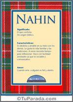 Nahin, significado de Nahin, origen de Nahin, nombres para bebés. Puedes enviar por email, compartir o imprimir nombres, nombres para niños en español