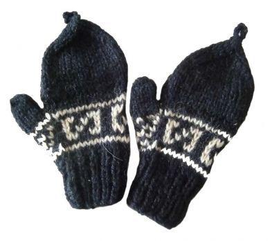 Kinder 1-4 Jahre #Fäustlinge, #Handschuhe aus naturbelassener #Alpakawolle, schwarz