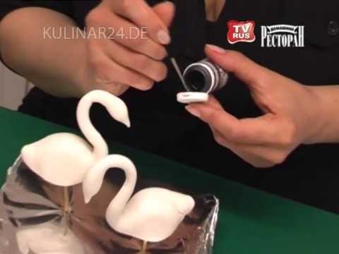 """Украшение свадебного торта """"Лебеди"""" Kulinar24TV - YouTube"""