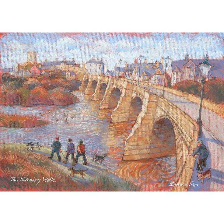 Evening Walk - Corbridge signed limited edition print by Edward Tibbs
