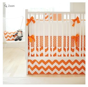 Monogrammed Zig Zag Chevron Baby Bedding in Tangerine. How freakin cute! My future baby will have this.
