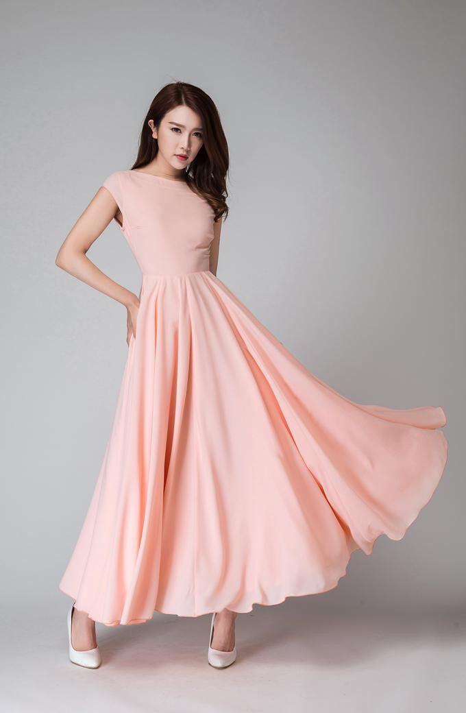 Pink long dress, Maxi dress, maxi prom dress, V neck dress, cap sleeve dress, chiffon maxi dress, women dresses, bridesmaid dress  1526 by xiaolizi on Etsy https://www.etsy.com/listing/275919028/pink-long-dress-maxi-dress-maxi-prom