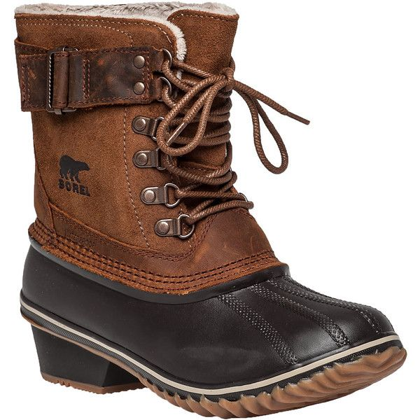 SOREL Winter Fancy Lacell Tan Snow Boot ($150) ❤ liked on Polyvore featuring shoes, boots, ankle boots, tan suede, short boots, lace ankle boots, sorel boots, buckle boots and waterproof snow boots