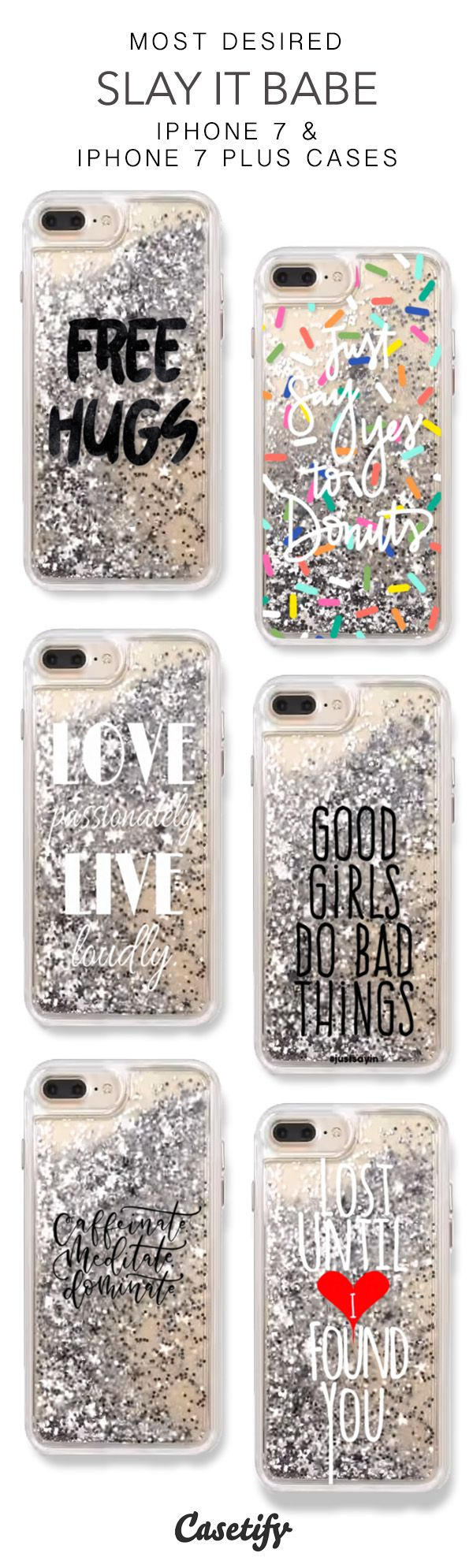Most Desired Slay it Babe iPhone 7 Cases & iPhone 7 Plus Cases. More Protective Liquid Glitter Quotes iPhone case here > https://www.casetify.com/en_US/collections/iphone-7-glitter-cases#/?vc=KJzkHoNH89