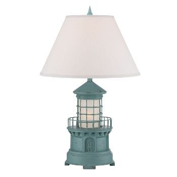 "<p> The nautical inspired <span style=""font-weight: bold;"">Lighthouse </span> Lamp is 27 inches tall. It features a traditional looking lighthouse. Also has <span style=""font-weight: bold;"">night light feature</span>.<br /> <br />  Lamp Shade color: White<br /> <br />  Shade Measures:7x18x11 inches<br /> <br />%..."