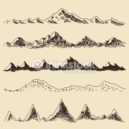 Clipart vectoriel : Mountains set contours Engraving Vector Hand Draw
