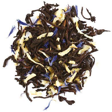 DAVIDsTEA Buttered Rum. Black tea, coconut, vanilla beans, cornflower petals, organic vanilla flavoring, natural coconut, natural butterscotch flavouring.