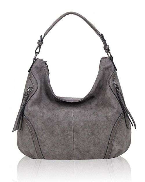 f8621a48c9fbb LeahWard Women's Shoulder Handbags Faux Leather Bag For Work Holiday Bags  (D. GREY)