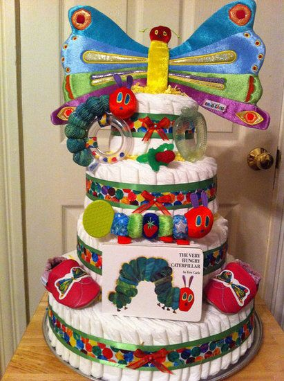 Very Hungry Caterpillar Diaper Cake : The literary classic gets a baby shower makeover with the Very Hungry Caterpillar Diaper Cake ($200). Packed with gifts following the caterpillar theme, this cake is sure to please the Eric Carle fans out there!