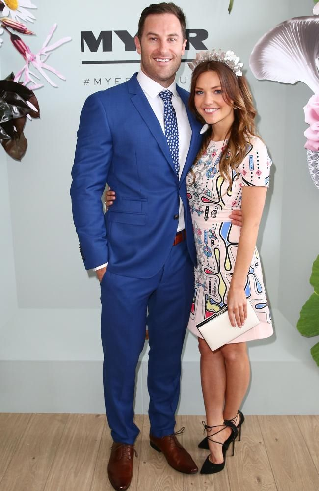 Sam Frost and Sasha Mielczarek from The Bachelorette pose at the Myer Marquee. Picture: Scott Barbour/Getty Images.