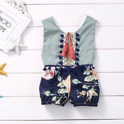 Newborn Kids Baby Girl Bodysuit Cotton Floral Jumpsuit Romper Outfits Clothes