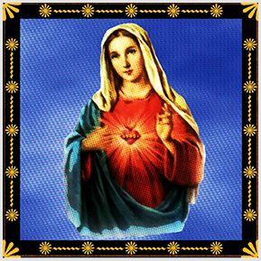 Sagrado Coração de Maria - Quadrinhos confeccionados em Azulejo no tamanho 15x15 cm.Tem um ganchinho no verso para fixar na parede. Inspirados em santos católicos. Para entrar em contato conosco, acesse: www.babadocerto.com.br