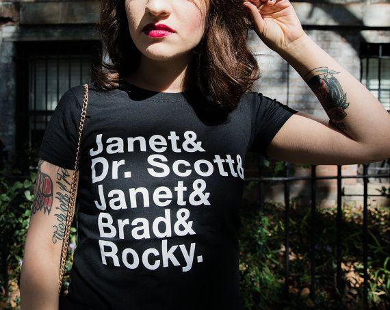 Janet ! Dr Scott ! Janet ! Brad ! Rocky ! T-Shirt - horreur-idée de cadeau - Rocky Horror photo Voir la chemise
