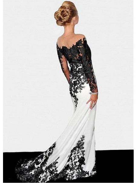 bc06f6f3edb3 Affordable Long Sleeves Lace Black White Mermaid Prom Formal Evening  Dresses 99501002