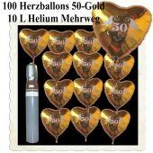 Ballons Helium Set Dekoration Goldene Hochzeit, 100 Herzballons 50 Gold, 10 Liter Helium-Mehrweg
