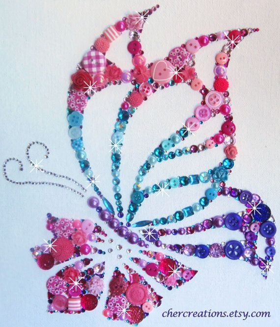 JEWEL TONE BUTTERFLY 8x10 Button Artwork.  One of by CherCreations