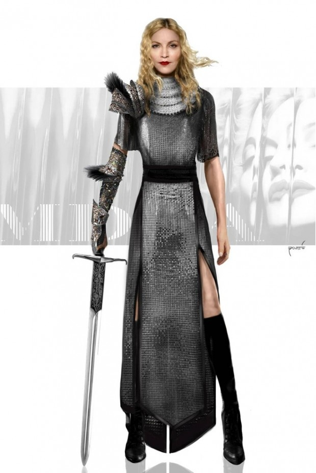 Madonna MDNA Tour Costumes: A Joan of Arc-inspired look fashioned from metal mesh and Swarovski crystals.