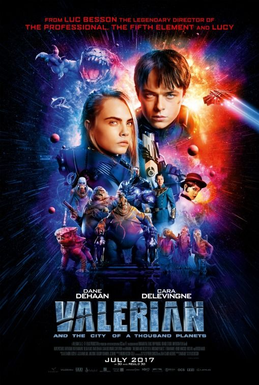 Movies: Valerian And The City Of A Thousand Planets  Director: Luc Besson  Cast: Cara Delevingne, Dane DeHaan, Elizabeth Debicki, John Goodman  Production Co:   Genres: Action, Adventure, Sci-Fi  Runtime: 137 min  Country: France  Release Date: 2017