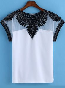 White Round Neck Embroidered Mesh T-Shirt EUR€9.96