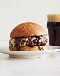 Umami burger with port and stilton