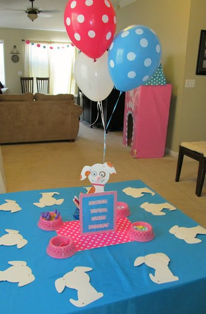 Puppy Party Ideas ~ Very Cute. As guests arrive have them sit and create a puppy