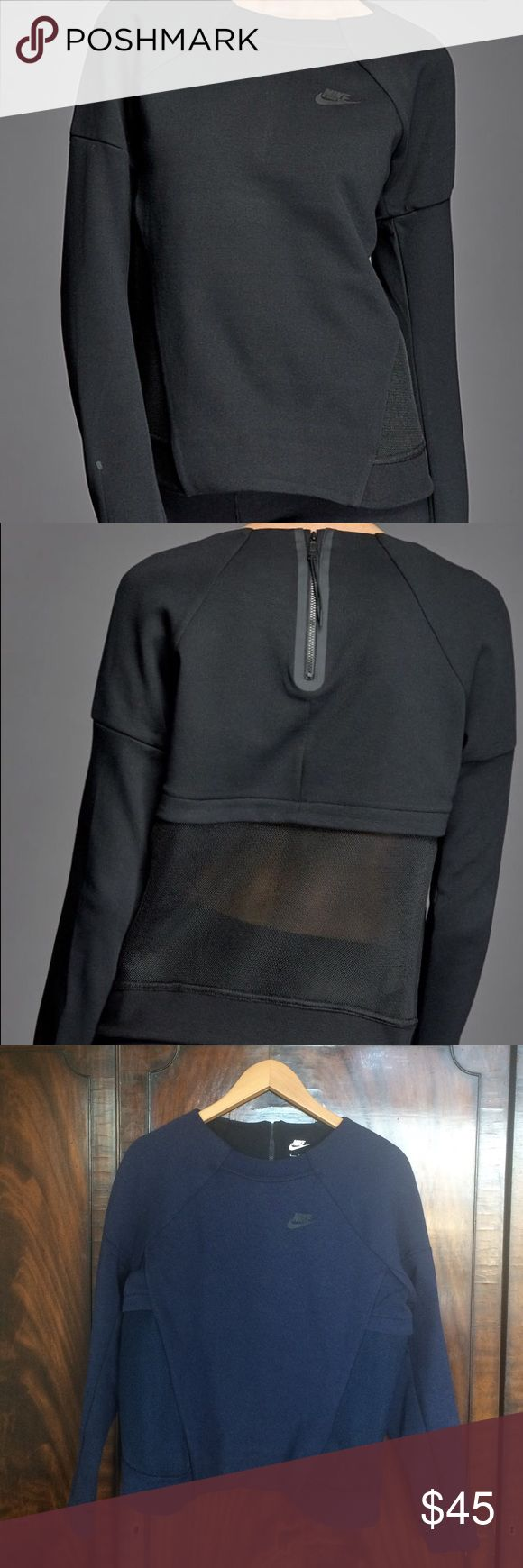 Nike Tech Fleece Mesh Crew Women's Small. Awesome condition, washed one time. No holes or stains, like new. Navy color. Nike Sweaters