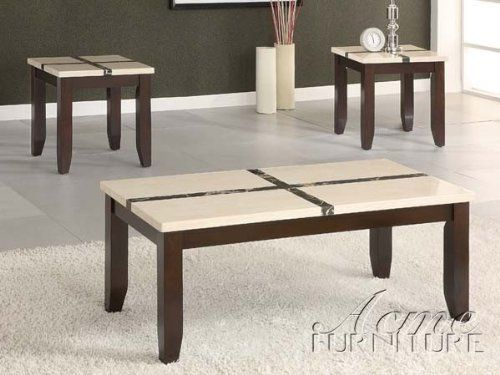 """3pc Coffee Table and End Tables Set in Ivory and Dark Brown Finish by Acme Furniture. $299.00. 3pc Coffee Table Set with Faux Marble Dark Brown Finish. Some assembly may be required. Please see product details.. Living Room. Living Room->Coffee and Occasional Tables->Coffee and End Table Sets. You will receive a total of 1 coffee table and 2 end tables. Coffee Table: 48""""W x 24""""D x 19""""H End Table: 22""""W x 22""""D x 22""""H Finish: Dark Brown, Ivory Material: Wood, Faux Marble 3p..."""