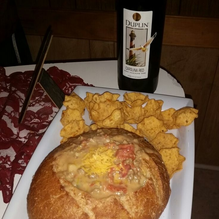 My beef and cheese caso dip in a artisan multigrain bread bowl