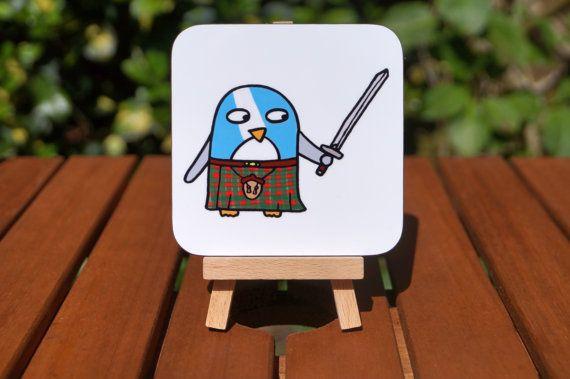 Coaster -  Funny Penguin - Scottish Gift - Braveheart