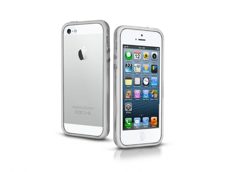 Bumper case in transparent PVC for iPhone 5, white color.   http://www.sbsmobile.com/iphone/protections_specific-cases/1883_bumpy-cas_TEBUMPTRIP5W.html
