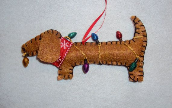 Dachshund Dog Christmas Ornament Felt Max Tangle in Lights