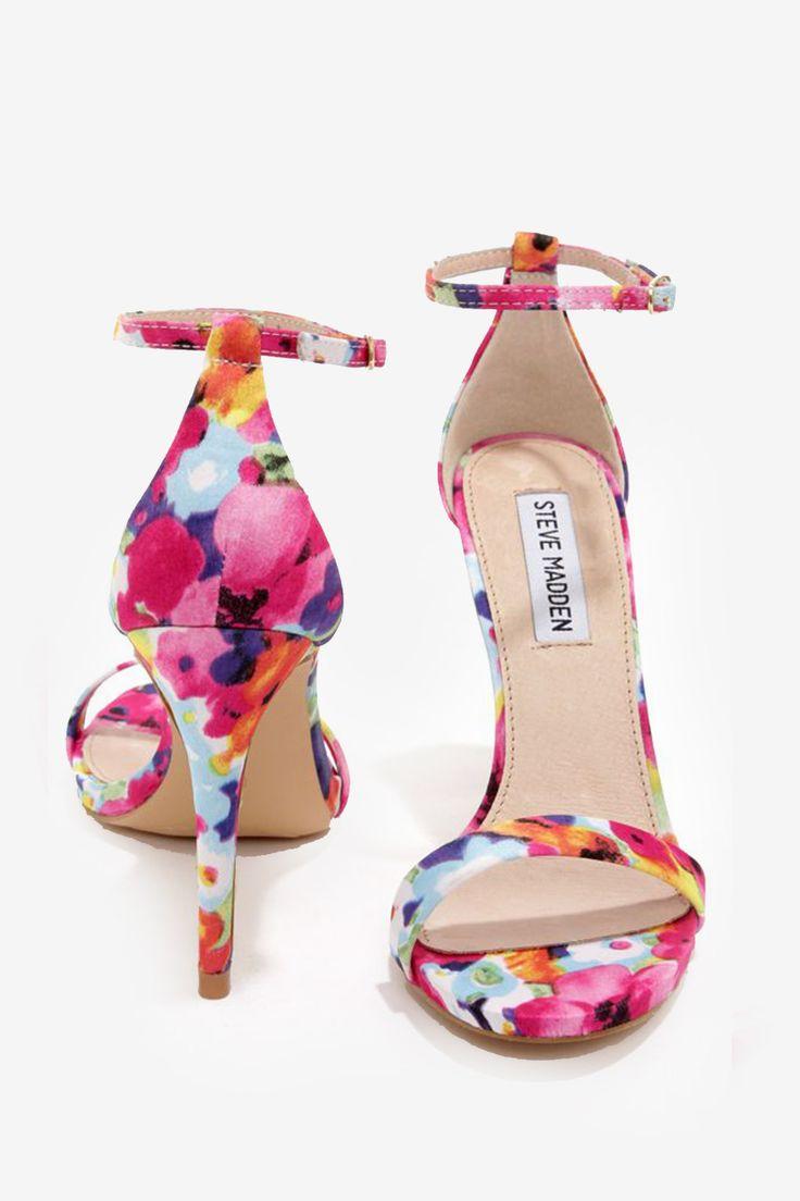 Single Strap Heels - Floral.