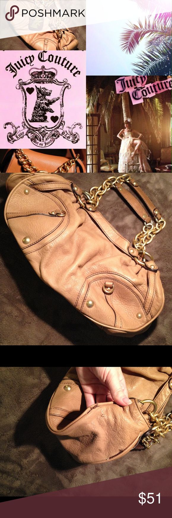 Get the Look 🌴 Juicy Couture leather satchel This is an authentic Juicy Couture leather bag. The straps have gold chains and studs. I no longer have the dust bag. On the inside there is a rip in the lining. On one side of the big, a pocket had been partially ripped off and damaged in an incident. I seam ripped the remains of the pocket off and diy-ed it into a separate coin purse. Other than that, the bag is in good condition. No stains or noticeable marks. Juicy Couture Bags Shoulder Bags