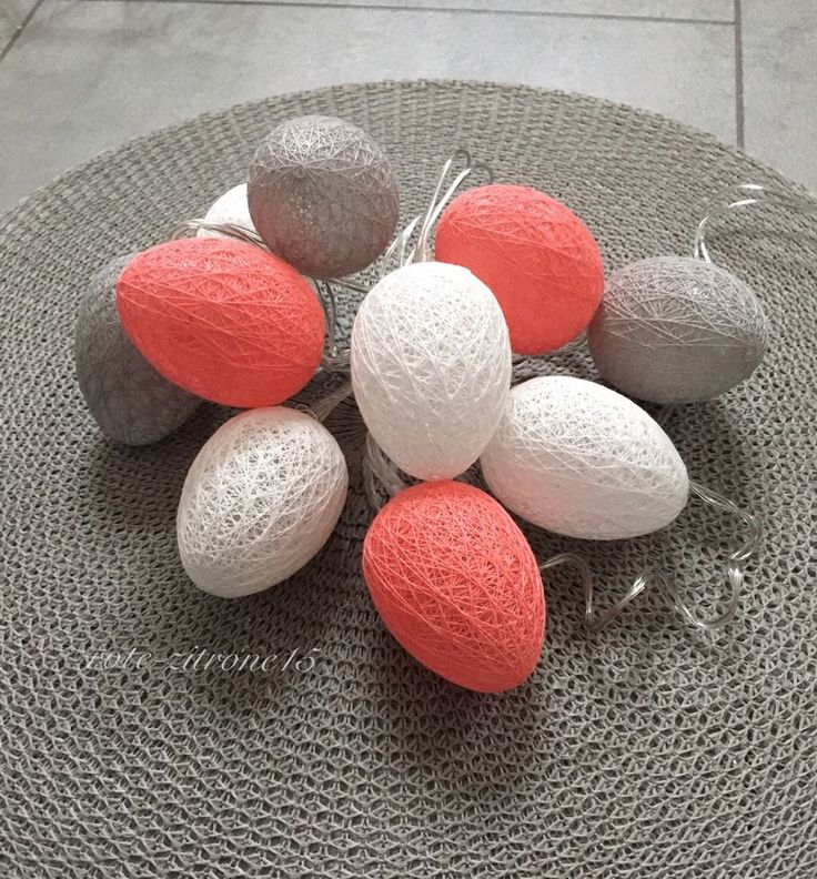 Lichterkette Oster Ei 10 Cotton Ball Spitze Stoff Party Deko LED Batterie Neu  | eBay